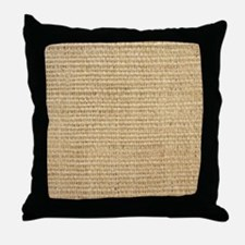 rustic western country beige burlap Throw Pillow
