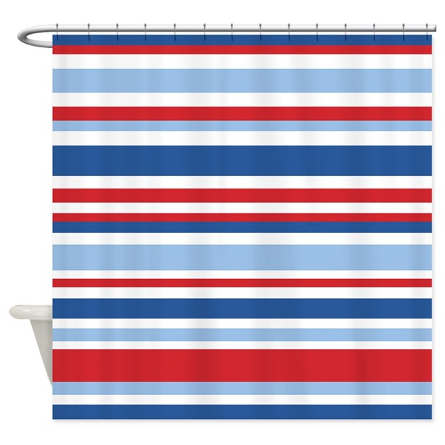 Nautical Stripes Shower Curtain By Stripedshowercurtains