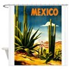 Vintage Mexico Travel ~ Village Shower Curtain