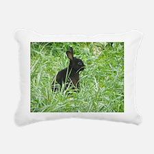 Black Mini Rex Rectangular Canvas Pillow