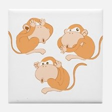 The three wise monkeys Tile Coaster