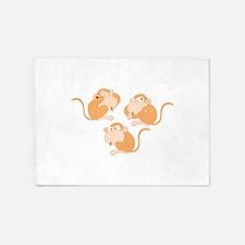 The three wise monkeys 5'x7'Area Rug
