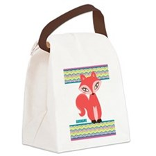 Woodland Red Fox Chevron Personalized Canvas Lunch