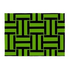 Bright Green and Black T Weave 5'x7'Area Rug