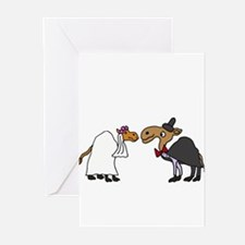 Funny Camel Bride and Groom Wedding Greeting Cards