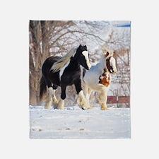 Snow ponies Throw Blanket
