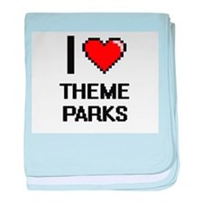 I love Theme Parks digital design baby blanket