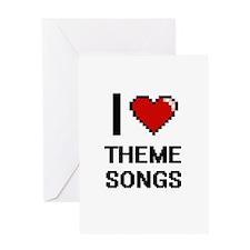 I love Theme Songs digital design Greeting Cards