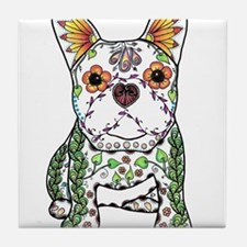 Sugar Skull Frenchie Tile Coaster