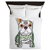 Sugar skull frenchie Queen Duvet Covers
