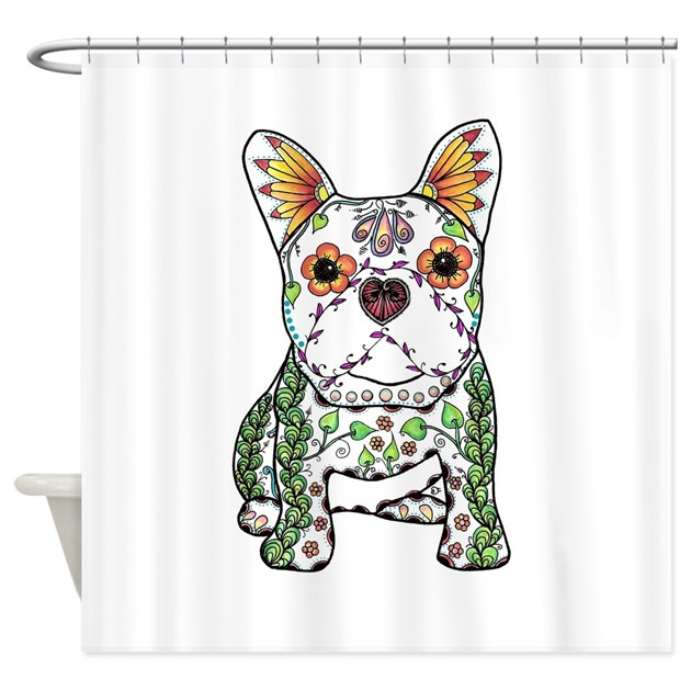 sugar skull frenchie shower curtain by admin cp109696902. Black Bedroom Furniture Sets. Home Design Ideas