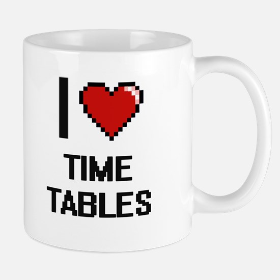 I love Time Tables digital design Mugs