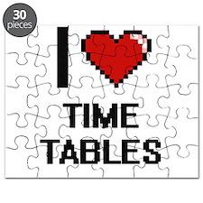I love Time Tables digital design Puzzle