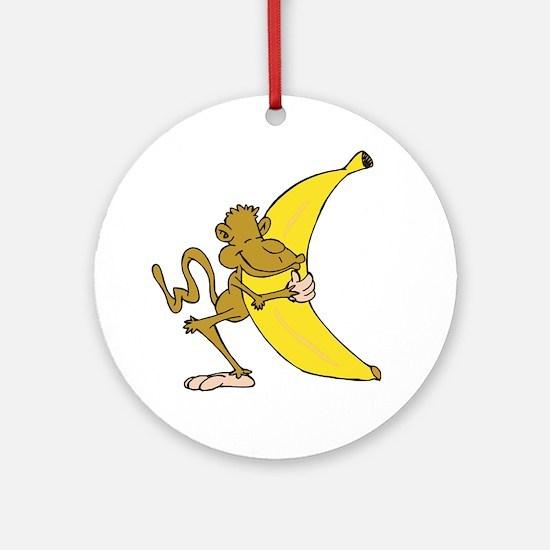 Silly Monkey Hugging Banana Ornament (Round)