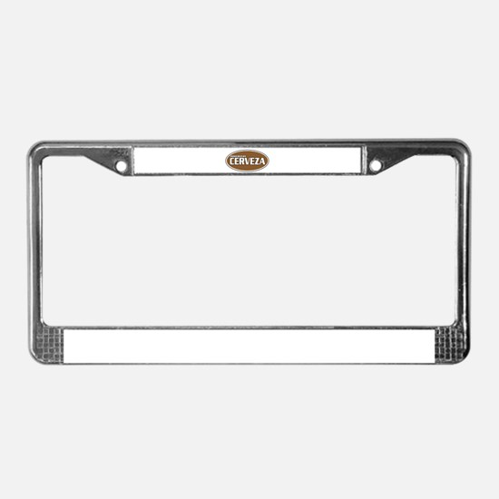 Powered By Cerveza License Plate Frame