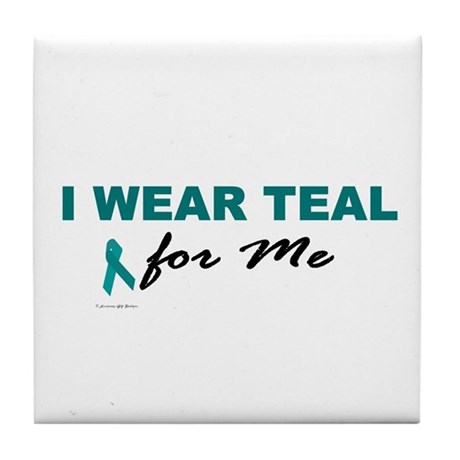 I Wear Teal For Me 2 Tile Coaster