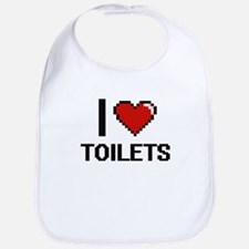 I love Toilets digital design Bib