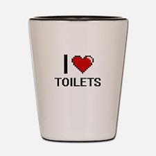 I love Toilets digital design Shot Glass