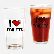 I love Toilets digital design Drinking Glass