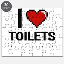 I love Toilets digital design Puzzle