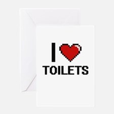 I love Toilets digital design Greeting Cards