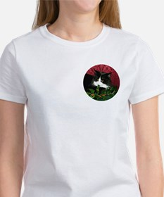B&W Maine Coon Cat & Holly Tee