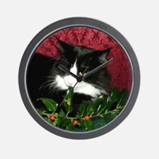 B&W Maine Coon Cat & Holly Wall Clock