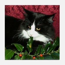 B&W Maine Coon Cat & Holly Tile Coaster