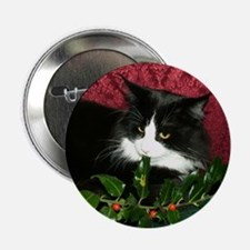 B&W Maine Coon Cat & Holly Button