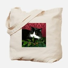 B&W Maine Coon Cat & Holly Tote Bag