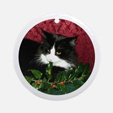 B&W Maine Coon Cat & Holly Round Ornament