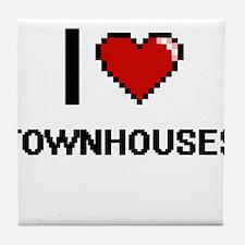 I love Townhouses digital design Tile Coaster