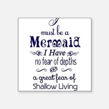 "Cute Mermaid Square Sticker 3"" x 3"""