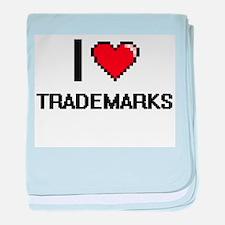 I love Trademarks digital design baby blanket