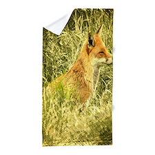 nature wildlife red fox Beach Towel