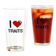 I love Traits digital design Drinking Glass