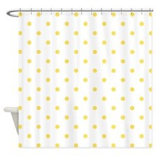 White & Canary Yellow Polka Dots Shower Curtain