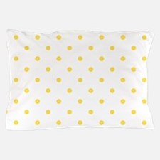 White & Canary Yellow Polka Dots Pillow Case