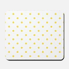 White & Canary Yellow Polka Dots Mousepad