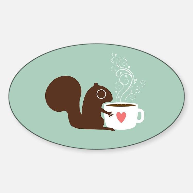 Cute Coffee Sticker (Oval)