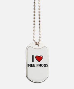 I love Tree Frogs digital design Dog Tags