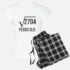 52 Years Old Square Root Pajamas