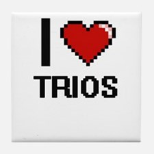I love Trios digital design Tile Coaster