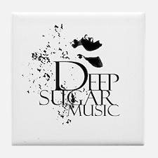 Deep Sugar Logo White Circle Tile Coaster