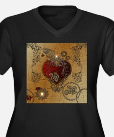 Steampunk, awesome heart Plus Size T-Shirt