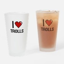 I love Trolls digital design Drinking Glass