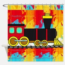 Fun Locomotive Choo Choo Train Shower Curtain