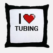 I love Tubing digital design Throw Pillow