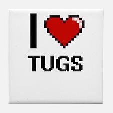 I love Tugs digital design Tile Coaster