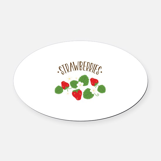 Strawberries Oval Car Magnet